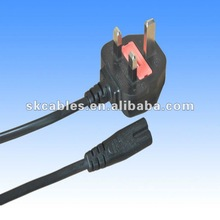 pvc insulated BS1363 H05VV-F 3*0.75mm2 power cable plug with IEC 320 C7 female end