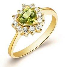 2013 new stye diamond ring 18 K gold/natural olive stone ring female GR0001P