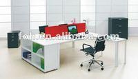 White workstation desk, workstation cluster, pc workstation(FOHTW-502)
