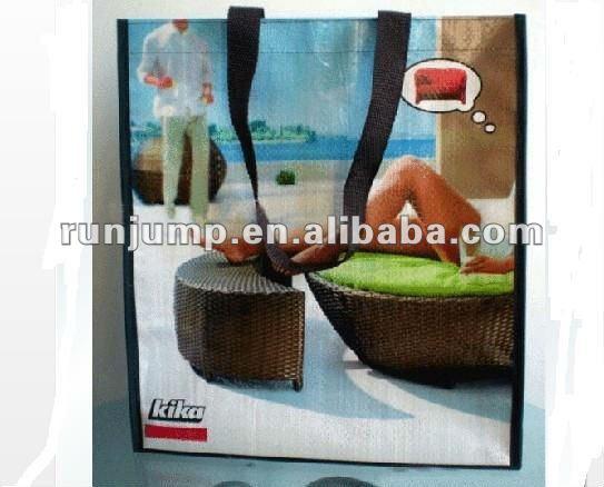 green colored 160g pp woven cheap folding shopping bag