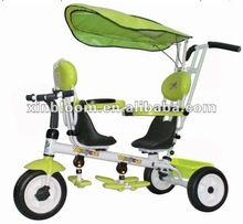 twins baby tricycle ride on car three wheels baby double seat bicycle with sunshade