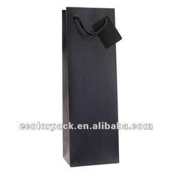 Black wine paper gift bag for one bottle packaging