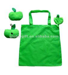apple shape fold up polyester bag