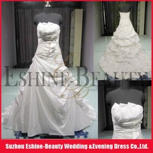 WRD12175 Charming satin strapless multilevel drop waisted ruched bodice pretty wedding dress 2012