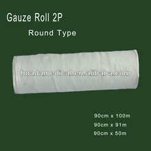 Medical 100% cotton absorbent gauze roll,white,40s,blue paper packing 2ply round absorbent gauze roll