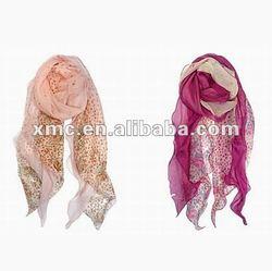 Rose Print Floral Pink Chiffon Scarf Scarves Women Shawl Wraps