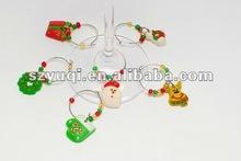 HOT! Pvc christmas wine glass charms