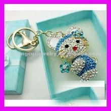 fashion crystal zinc alloy cat keychain