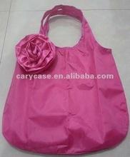new rose flower shape polyester foldable shopping bag