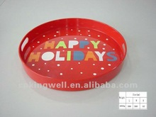Round shaped 15inch melamine red color wholesale serving trays