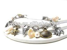 Wholesale sea charm and pearl dangle chan bracelet(B101999)