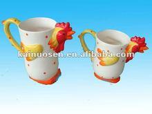 3D rooster ceramic animal mug