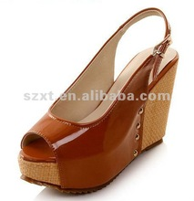 Fashion slingback peep toe wedge shoes summer sandal pictures of women in high heel shoes XT-SF182