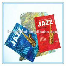 Jazz printed holographic laminated shiny ziplock bag/2012 hot sale mini zipper lock plastic bag