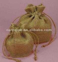 drawstring jute bakpack pouch bag, mini jute bag