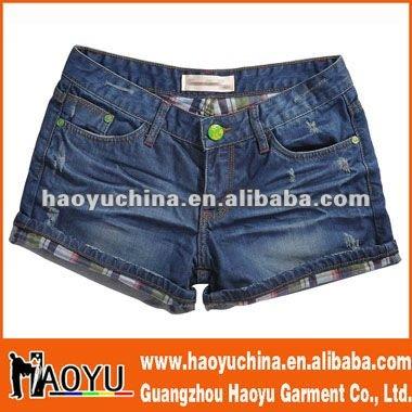 Caliente las ventas de las chicas de moda jean pantalones cortos( hy412)