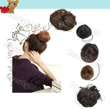 Pony Tail Hair Extension Bun Wigs Hairpiece Scrunchie Stylish 2 Style Wavy Straight