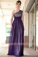 DORISQUEEN fast shipping floor length one shoulder elegant evening dress for fat