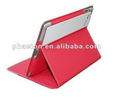 new red beautiful pu leather case for ipad2/new ipad