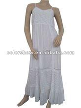 White Cotton Pierced Long Evening Dresses