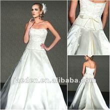 JW0198 New design bow tie decoration back taffeta wedding dress
