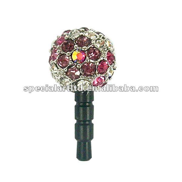 Fashion diamond flower phone anti dust plug for phone , designed by (C) charis,OEM service