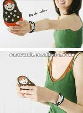 Fashion lady braid leather cord bracelet watch leather wrap wrist watch