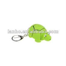 Cute LED Light Sound Green Tortoise Key Chain Ring