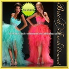 Sweetheart Beaded Waist Organza Skirt Pink Short Front And Long In Back Prom Dress