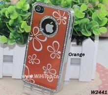 Mix Colors Flowers Pattern Aluminum Chrome Diamond Bling Case for iPhone 4 4S Elegant Look+Best Service