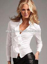 ruffle poplin Casual shirt/Casual white women's shirt