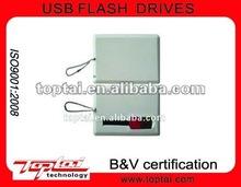 16GB White Rectangle Plastic Credit Card Holder USB Flash Drive