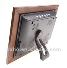 10.4 inch wooden digital photo frame Picture+Music+Movie+Calendar+Clock+Memory+Ebook(optional)