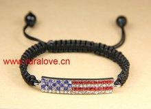 HOT America Flag pave bar bracelet for USA market