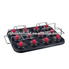 12 cup cake pan w/wire rack with 12pcs red silicone pad