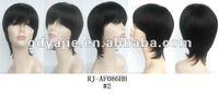 "2012 Beautiful 10""straight #1B Natural Black front Lace Brazilan Human Hair Wigs LX0021"