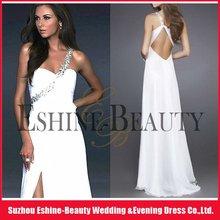 2012 Glamorous White Beaded One-shoulder Sweetheart Ruffled Cut-out Back Chiffon Formal Dress