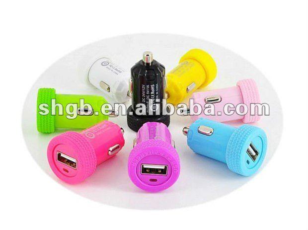 colorido usb cargador de coche para el iphone 5