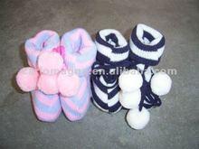 Mão de 100% algodão infantil crochet sapatinho bebê 3D meias atacado