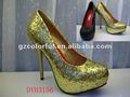 2012 damas de la moda sexy zapatos de tacón alto de oro de zapatos de fiesta