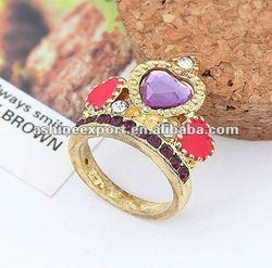 colorful diamond crown ring