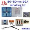 BGA reballing kit combination, 80mm reballing station + stencils + solder ball+ flux + tweezer + solder wick