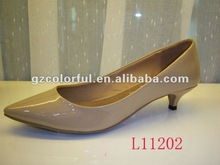 2014 women fashion sexy low heel shoes beige patent pu