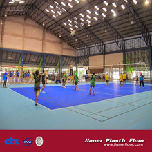 Volleyball sports court floor of PVC plastic covering