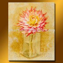 Hot Sell Handmade Pink Rose Flower Oil Painting