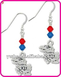 Kansas Jayhawks Bicone Crystal School Sports logo charms Earrings (E102488)