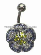 Stainless belly ring jewel violet gemstone