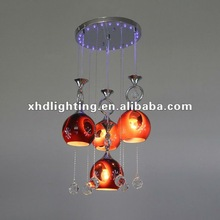 2012 glass pendant light with led and crystal X1219/4