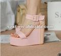 las mujeres sandalias de color rosa de zapatos de cuña de la plataforma xt12071604