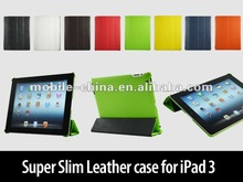 Leather case for new ipad /ipad3&2 4 side Lichi PU case with sewing edge